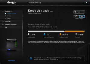 Drobo Capacity Screen Shot