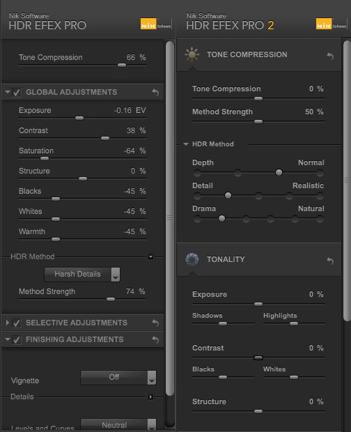 HDR Efex Pro Tonal Adjustment Control Comparisons